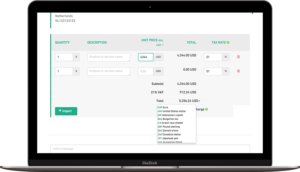 Use multiple currencies in your invoices